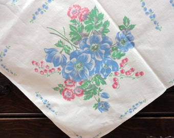 """Vintage Cotton Floral Tablecloth Blue Poppies Pink Bachelor Buttons, Lilies of the Valley 63"""" x 50"""""""