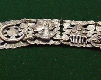 Vintage Deco Egyptian Revival Bracelet Elephants, Sphinx, Pharaoh, Moon, Egyptian, Amphorah