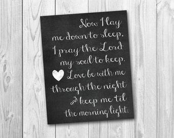 Bedtime prayer, baptism gift, child's prayer, nursery decor, instant download