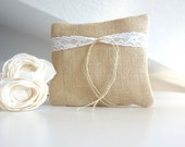 Bridal pillow, wedding pillow, natural burlap pillow for ring bearer with lace decoration