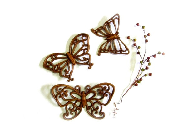 Rattan Butterfly Set Natural Faux Wicker Wall Decor Syroco