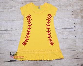 Softball Dress, Baby Softball Dress, Toddler Softball dress, Child Softball dress, Softball outfit