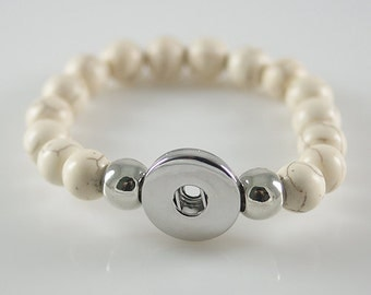 1 White Marbled Beaded Elastic Bracelet - FITS 18MM Candy Snap Charm Jewelry Silver kb4582 CJ0020