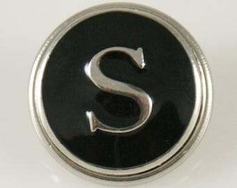 1 PC 18MM Letter S Black Enamel Alphabet Silver Candy Snap Charm Kb1269 Cc0240