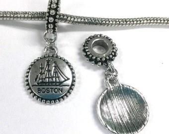 3 Beads - Boston Ship Dangle Silver European Bead Charm E0763