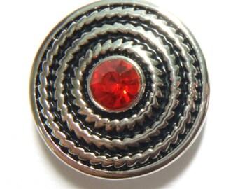1 PC 18MM Red Flourish Rhinestone Silver Snap Candy Charm Limited Edition CC0054