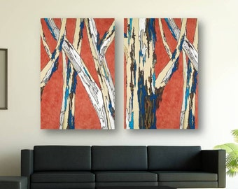 Extra LARGE Wall Art Oversized Diptych Modern Landscape Artwork Giclee Canvas Print Orange Blue White Living