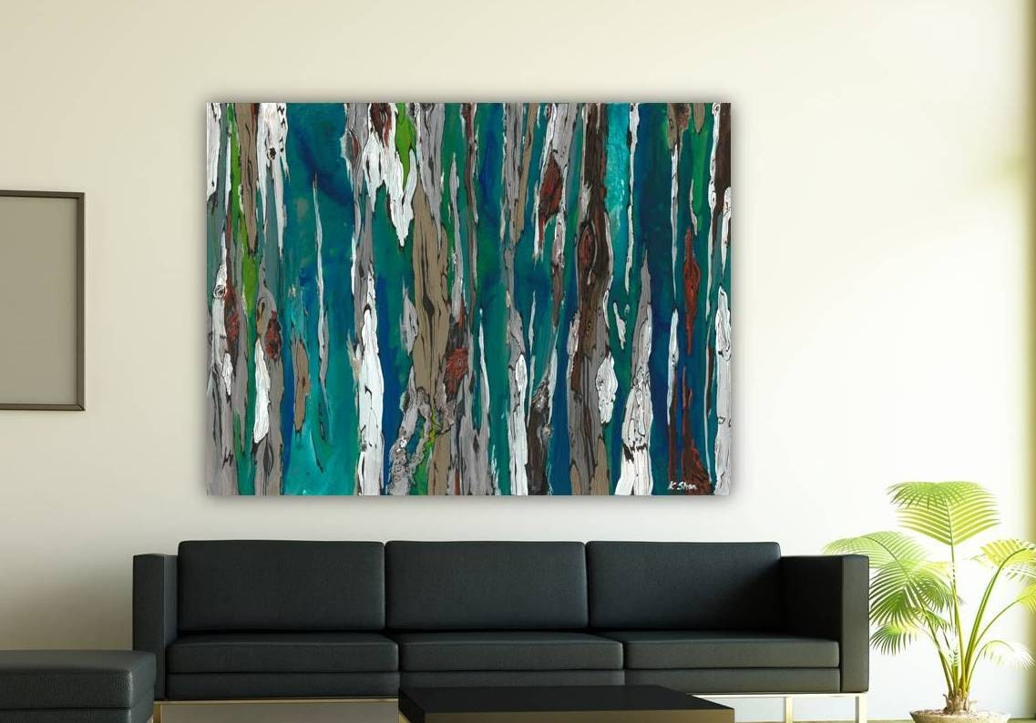 Large H Wall Decor : Oversized blue canvas print extra large wall art dining room