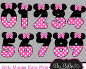 INSTANT DOWNLOAD Girl Mouse inspired clipart numbers clip art in Pink and Black Model Minnie