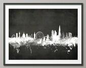 London Skyline, London Cityscape England, Art Print (1896)