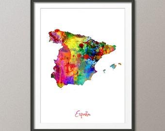 Spain Watercolor Map (España), Art Print (1406)