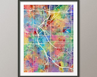 Denver Map, Denver Colorado City Street Map, Art Print (1538)