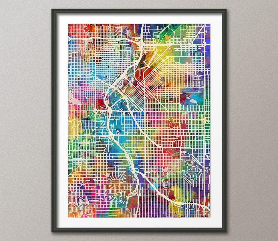 Denver Map: Denver Map Denver Colorado City Street Map Art Print 1538