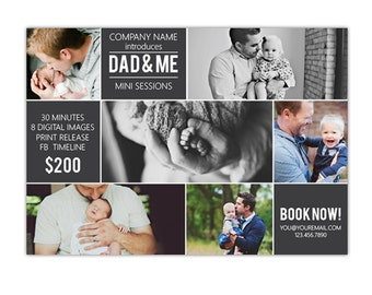 INSTANT DOWNLOAD - Father's Day Mini Session template - Photoshop template - E1037