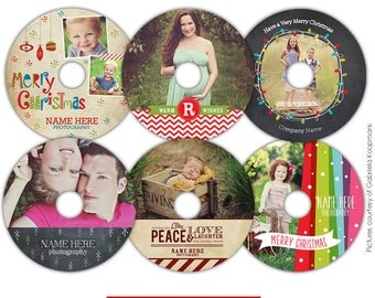 INSTANT DOWNLOAD -Christmas CD labels photoshop templates - Magic things -  E569