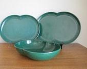Vintage Melmac Serving Bowl and Plates Branchell Color-Flyte Green Melamine Dish Peanut Shape 3 pieces
