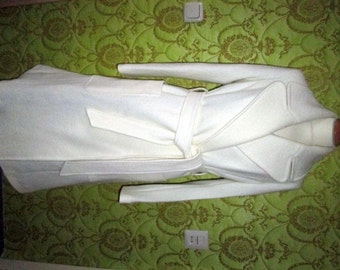 CUSTOM MADE Marc Jacbos winter off white WOOL belted coat midi length