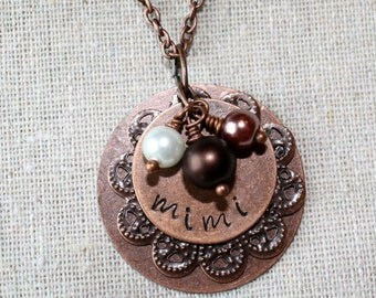 Handstamped Copper, Personalized Charm Necklace with Copper Filigree, Tricolor Pearls, for Mimi, Nana, Mom, You Pick Name