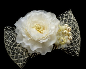 Ivory flower, pearls and crinoline wedding hair fascinator