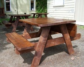 Mini Picnic Table with Folding Benches - Stained - Patio Furniture - Wood Furniture