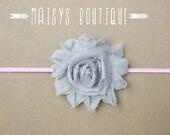 75% Off- Gray Pink Flower Headband/ Newborn Headband/ Baby Headband/ Photo Prop