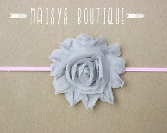 75% Off- Gray Pink Flower Headband/ Newborn Headband/ Baby Headband/ Photo Prop