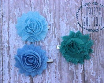 75% Off Hair Clip Set of 3- Sky Blue, Teal, Alice Blue Flower Clips/ Hair Clips/ Baby Hair/ Wedding/ Photo Prop