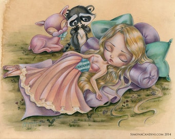 Sleeping Beauty LIMITED EDITION print signed numbered Simona Candini lowbrow Princess Aurora pop surreal art big eyes