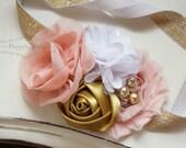 Blush, Gold and White  headband, blush headbands, newborn headbands, gold headbands, vintage headbands, photography prop