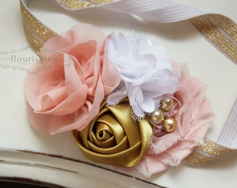 Blush, Gold and White  headband, blush headbands, newborn headbands, gold headbands, vintage headbands, photography prop