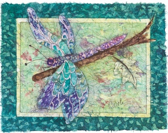 Watercolor Batik on rice paper of A Dragonfly Enjoying the Day.