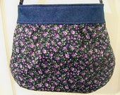 "Handmade Purse 14""x11"" Solid Blue Denim Top Small Flowers Magnetic Top Closure"