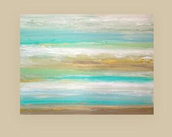 "ART Painting Beach Shabby Chic Original Acrylic Abstract Painting Titled: Blue Lagoon 9 36x48x1.5"" by Ora Birenbaum"