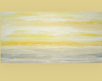 """Art and Collectibles Abstract Acrylic Art Canvas Painting by Ora Birenbaum Titled: Lemon Twist 24x48x1.5"""""""