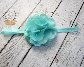 Aqua Headband with Satin & Tulle -  Baby Infant Toddlers Girls Women Flower Girl Aqua Blue Green