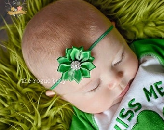 Emerald Green Satin Flower Petite Headband with Rhinestone -  Flower Girl - Newborn Infant Baby Toddler Girls Preemie