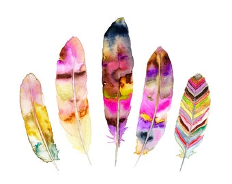 Feather Illustration.  Watercolor Feather Art Print.  Tribal Art.