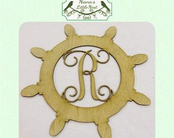 Single Initial Captains Wheel Monogram Wood Cut Out - Laser Cut