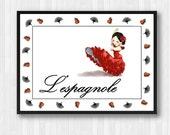 Flamenco,Flamenco Dancer,Spanish Lady,Spanish Dancer,Flamenco Poster,Flamenco Print,Flamenco Decor,Spanish Poster,Spanish Print,Dance