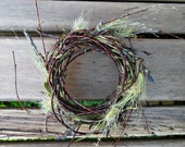 Spring Table Wreath, Twig Nest Candle Ring - Woodland Rabbit, Tiny - Birch, Blue Lavender, Lichen and Ornamental Grasses