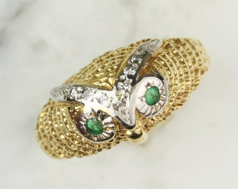 Vintage 14k Gold Emerald and Diamond Owl Ring