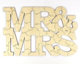 """30 - 100 Piece """"Mr & Mrs"""" Unique Laser Cut Wedding Guest Book Alternative Puzzle"""