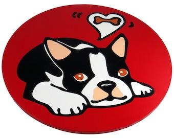 "Boston Terrier Puppy/Boston Terrier/Dog 16""  Wooden Lazy Susan. Hand-painted on white birch."