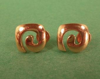 Pierre Cardin Vintage Signature Earrings, Gold Toned, Pierced, Post