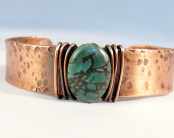 Copper cuff hand forged textured natural turquoise stone