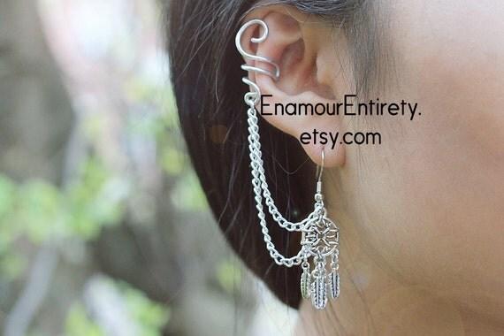 Silver Dream Catcher Ear Cuff Earring