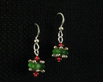 Lake Superior Beach Glass Holiday Earrings