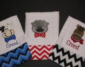 Personalized, appliqued burp cloth set of 3;  barnyard animals; farm animals