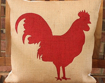 Hand Painted Red Rooster on Burlap Pillow Cover