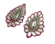 2 Pieces Silver and Pink Sew On Applique - Lappe Ka Kaam Gota Embellishment From India